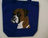 Reuseable Canvas Tote with a Brindle Boxer Dog