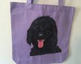 Reseable canvas tote with a Black Labradoodle