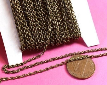 Soldered Chain, 21 Ft Antique Brass Cable Chain,   3x2mm, CHN 806