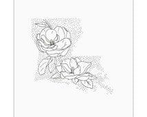 Louisiana> Magnolia> State Flower Drawing> Giclee Print