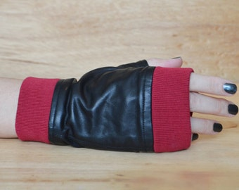 ON SALE! Organic Cotton Trim and Leather Mini Moto Fingerless Motorcycle Gloves