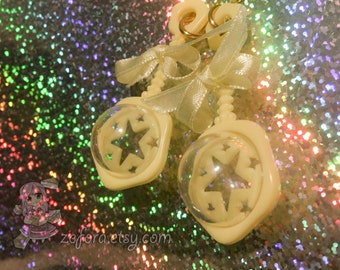 Pastel Yellow Baby Girl Rattle Star Bow Dangle Earrings