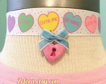 Valentine's Day Conversation Hearts And Heart Lock Bow Ribbon Choker Necklace