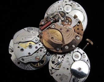 Vintage Antique Industrial Looking Watch Movements Steampunk Altered Art Assemblage DI 74