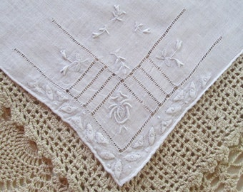 Embroidered Bridal Handkerchief White Linen Antique Hankie Vintage Wedding Hanky