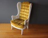 High Back Tufted Chartreuse & Cane Armchair