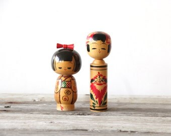 Pair of Japanese Kokeshi Dolls