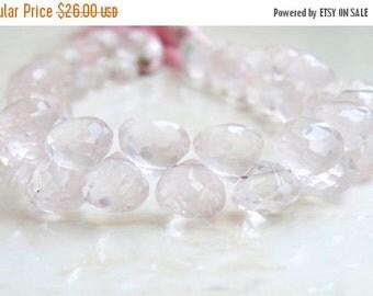 SALE 31% Off Rose Quartz Briolette Gemstone Pink Faceted Onion Bead 7.5mm 23 beads 1/2 Strand
