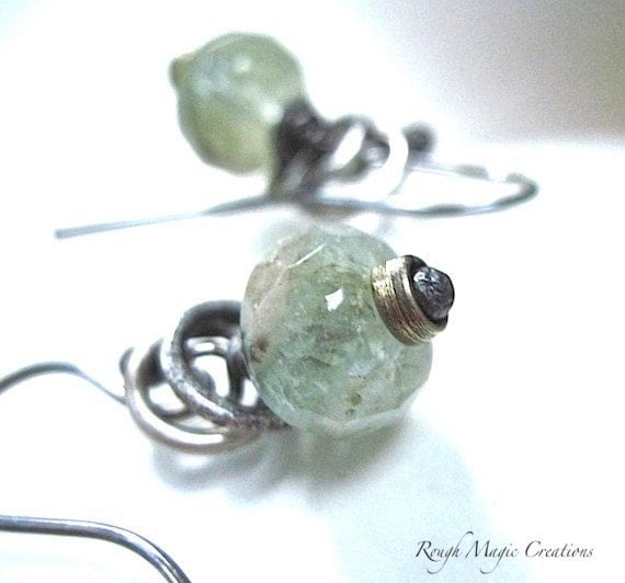 Aquamarine Earrings. Sterling Silver Jewelry. Blue Green Gemstone Dangles. Rustic Style. Luxe High Fashion Jewelry