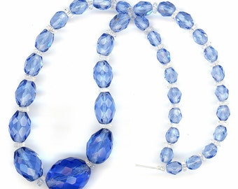 "Vintage Faceted Bead Necklace 15.25"" Graduated Sapphire Glass - Restring, Restyle, Repurpose"