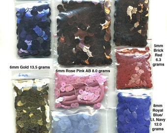 Vintage Sequin Lot 3.46 Oz. Mixed Sizes & Colors Lovely Assortment