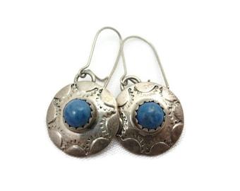 Sterling Turquoise Earrings - Southwestern, Signed Jewelry, Pierced Hooks