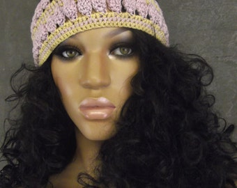 Crochet Skullcap,Extra-Large,Accessory,Women,Hats,Pink Cap,Cotton Hat,Gold,