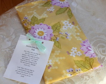 Flowers Rice Bag, Promenade, Therapeutic, Yellow, Hand Warmer, Big, Heating Pad, Hot Bag, Girl