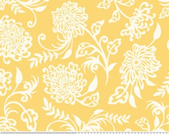 Decadence by Riley Blake, Floral in Yellow - 1 Yard - Reduced