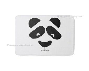 Panda bear rug panda face rug bathroom rug bedroom rug plush memory foam mat bath mat bath rug black and white rug kawaii panda rug 3 sizes