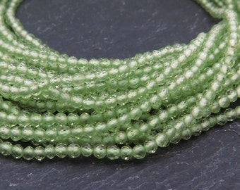 "AAA Peridot Faceted Rondelles 2mm ~ 13"" Strand (CG8525E)"