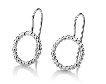 Round Gold Earrings , Circle Hanging Earrings , 14K White Gold Ring Earrings , Small Gold Hanging Earrings