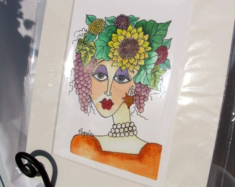 "Watercolor/Pen & Ink Giclee Print ""Autumn"" Matted Archival Whimsical Impressionistic Style Lady's Face and Autumn Flowers on Etsy"