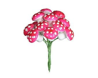 Mushrooms Germany 12 Bright Pink Spun Cotton Mushrooms 18mm