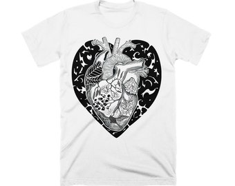 NEW - Men's White T shirt with Anatomical Heart - Love T shirt for Valentine's Day - Heart Shirt for Him