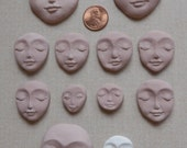 11 Polymer Clay & 1 Air Dry Faces Cabs Cabochon Heads Made with Molds Great for Art Dolls  Mixed Media  Collage