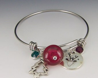 Holiday Bracelet, adjustable stainless steel bangle, cranberry lampwork bead and swarovski crystal