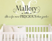 Nursery Wall Decal - Baby Monogram, She is far more precious than jewels, personalized wall decal - Wall Art Quote, Nursery Wall Art