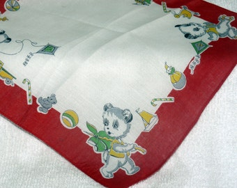 "Child Hankerchief - Bears at Play - Red Border  -8 1/2"" X 8 1/2"""