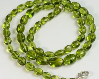140.9CT Arizona Apple Green Peridot Smooth Oval Nugget Beads 18 inch Strand