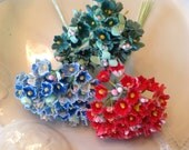 3 BOUQUETS  VINTAGE Millinery Flowers Forget Me Nots-  Red - Teal-  Blue - Perfect for Doll  Flowers Baskets Packaging or Crafts