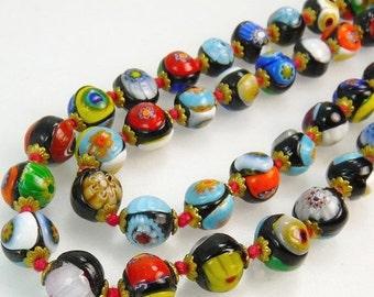 Vintage Italian Venetian Millefiori Murano Art Glass Bead Necklace