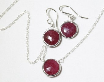 Genuine Ruby 2-piece SET Adjustable Ruby Necklace Ruby Earrings Ruby Jewelry July Birthstone Precious Rubies BZ-SET-105.2-Ruby/s