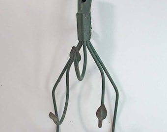 Vintage Steel, Metal Farm 5 Prong Tilling, Gardening Machinery Tool  in Old Green Paint, Wall Hooks Unit, Wall Hanger,  Recycled Farm Tool