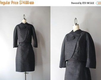 STOREWIDE SALE 1960s Suit / Vintage 60s Black Silk Shantung Suit / 60s Mod Asymmetrical Black Suit Set by Boykoff