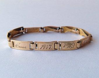 Antique Bracelet / Vintage 1910s Goldfilled Friendship Bracelet / Antique 1917 Link Bracelet with Names