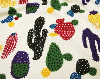 Half Yard Japanese Linen Blend Cotton Fabric Cactus 2 colors to choose