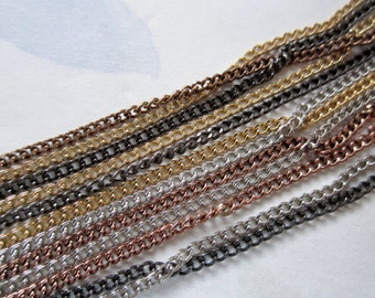 vintage multi 12 strand mixed metal chain necklace in silver gold copper black tones - j6079