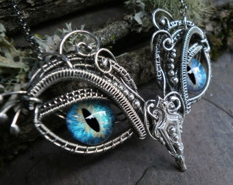 Gothic Steampunk Sterling Silver Evil Eye Pendant