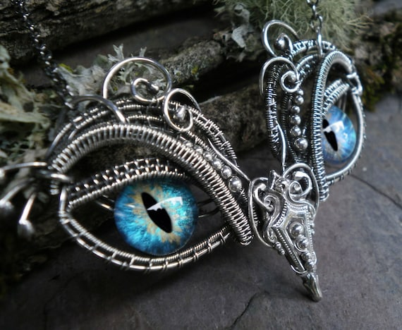 Gothic Steampunk Sterling Silver Evil Eye Pendant