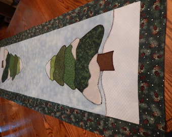 Snow covered Pines Table Runner