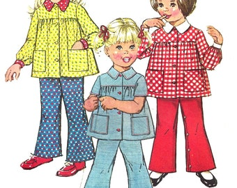 Child's Smock Pattern 1970s Top Bell Bottom Pants Vintage Simplicity Children's Sewing Toddler Girl's  Size 2