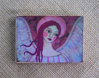 "Angel Print Painting Woodblock Print encaustic Shabby Folk Art 3.5"" x 5"""