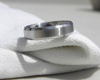 Titanium Ring or Wedding Band, 5mm size 6.5, Clearance Listing