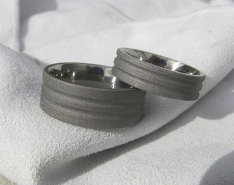 Titanium Ring SET or Wedding Bands Unique Style Sandblasted