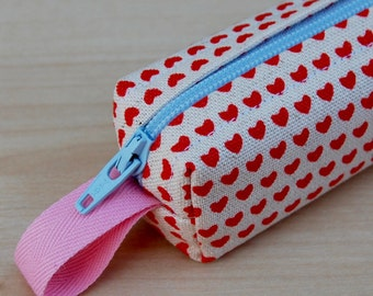 The Tinies Red Hearts Bitty Bag (petite pencil or makeup case)