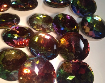 5 faceted rainbow backed glass cabochons, 27mmx10mm, crystal vitrail