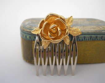 Gold Metal Flower on Silver Comb Up Cycled Vintage Hair Clip One of a Kind Hair Accessory