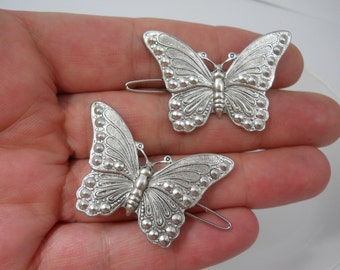 Silver Embossed Metal Butterfly Barrettes Small Hair Clips Nature Hair Pins Butterflies Flower Girl Springtime Hair Accessories