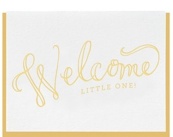 Letterpress - Welcome Little One - Greeting Card